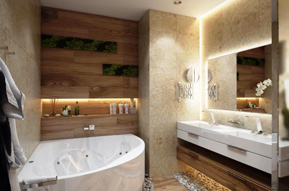 Оформление ванной с использованием натурального дерева
