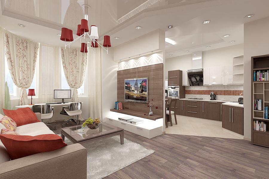 Современный дизайн совмещенной гостиной и кухни