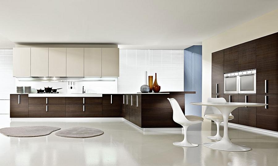 Великолепное сочетание белого и коричневого в современном интерьере кухни