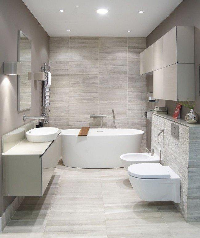 Мягкие тона и великолепное освещение в ванной - неотъемлемая часть современного интерьера