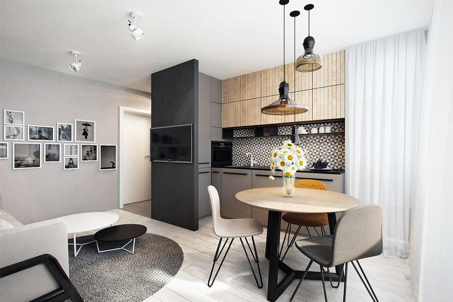 Значительно сэкономить пространство на кухне можно, установив в ней небольшой круглый столик