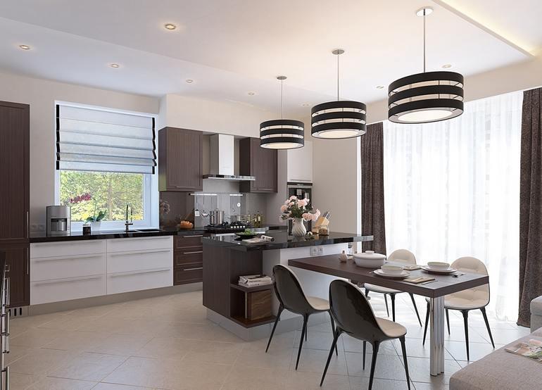 Благодаря сбалансированному освещению кухня выглядет достаточно просторной
