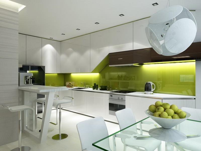 Кухня в стиле хай-тек украсит дизайн двухкомнатной квартиры