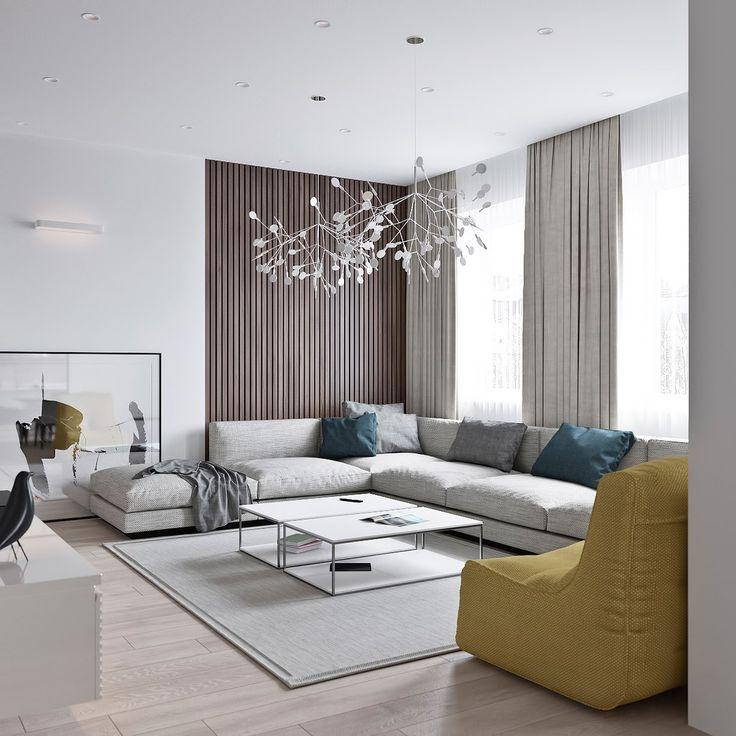 Просторная гостиная в современном стиле