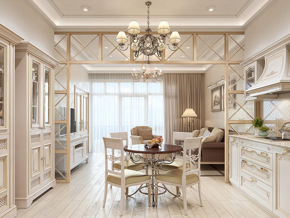 Идеальное сочетание светло-бежевого цвета и позолоты в гостиной