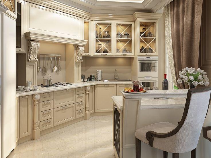 Кухня в классическом стиле выполненная из массива - показатель статуса и богатства