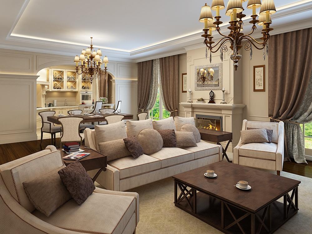 Велюровая ткань и коричневый цвет в классическом интерьере, излюбленный прием современных дизайнеров