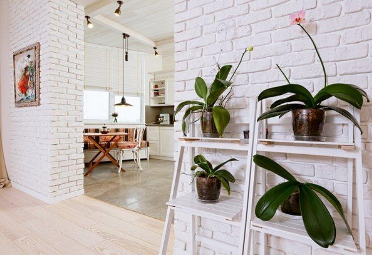 Разделение обеденной зоны и гостиной кирпичной стеной с проемом