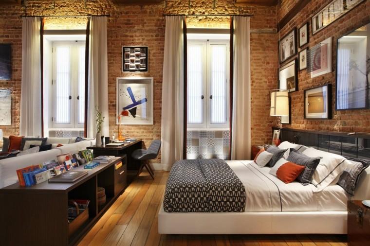 Спальне в стиле лофт отлично подходит кирпичная стена с нейтральным оттенком