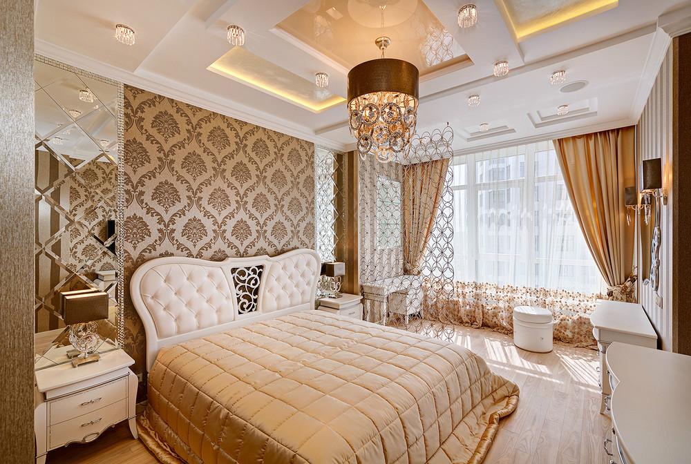 Эффектный потолок из гипсокартона в спальне оформленной в стиле арт-деко