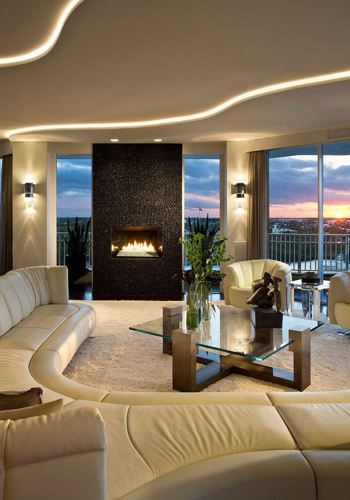 Плавные линии с приятным освещением в дизайне потолка из гипсокартона