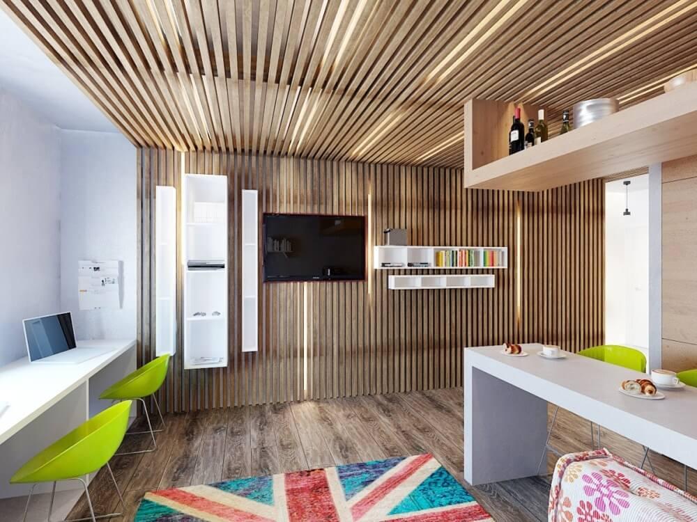Деревянная реечная конструкция создаст приятную и уютную атмосферу загородного дома