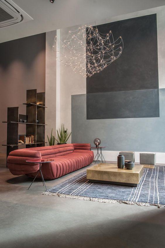 Стилю минимализм также характерны использование натуральных материалов и мебели контрастных тонов
