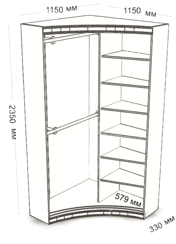 Угловой шкаф идеально впишется в интерьер любого помещения вне зависимости от площади