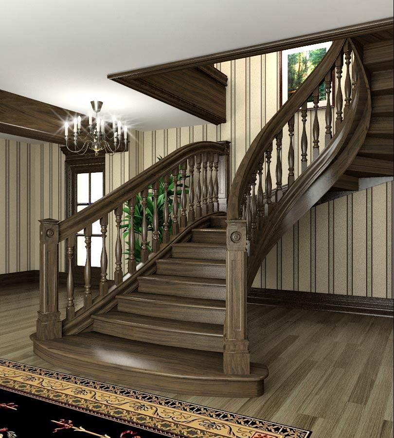 Красивая деревянная лестница на второй этаж с плавным поворотом