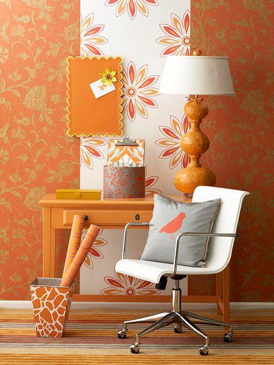 Используя теплые оттенки оранжевого, в сочетании с различными элементами декора можно получить идеальный интерьер, который будет радовать глаз