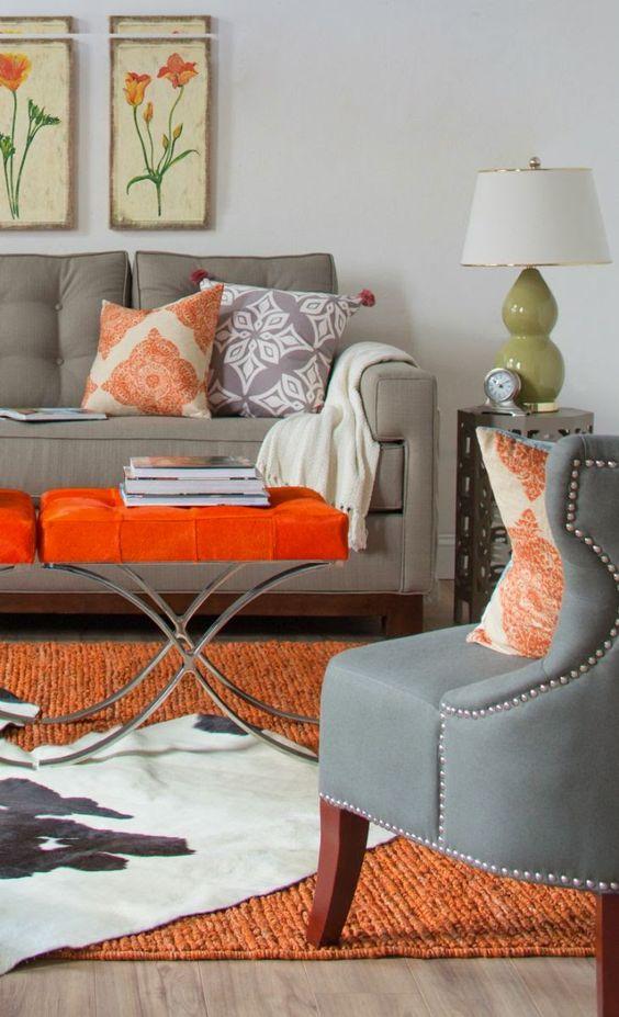Оранжевый цвет оказывает хороший тонизирующий эффект, однако для избежания дисбаланса в интерьере его следует разбавить, нейтральными и спокойными оттенками