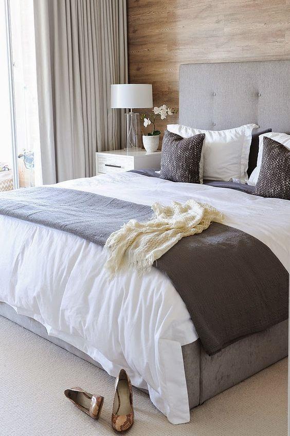 Сочетание серого и белого цвета в спальне - классика жанра