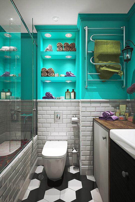 Бирюзовый неплохо будет смотреться в ванной. Это именно то самое место где должно веять свежестью