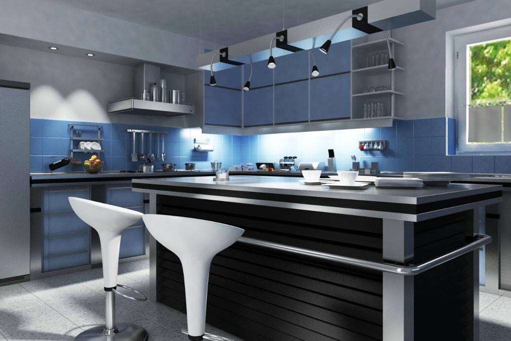 Для удобства пользования кухней, каждый её участок должен быть в достаточной степени освещён