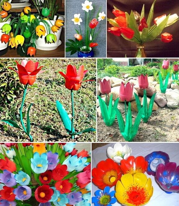 Не менее эффектно смотрятся и разноцветные тюльпаны, изготовленные из тех же бутылок ПВХ