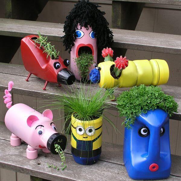 Горшки и вазы для цветов в виде веселых персонажей