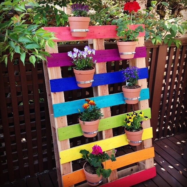 Разукрасив деревянный поддон всеми цветами радуги, можно создать оригинальную стенку держатель для горшков с цветами