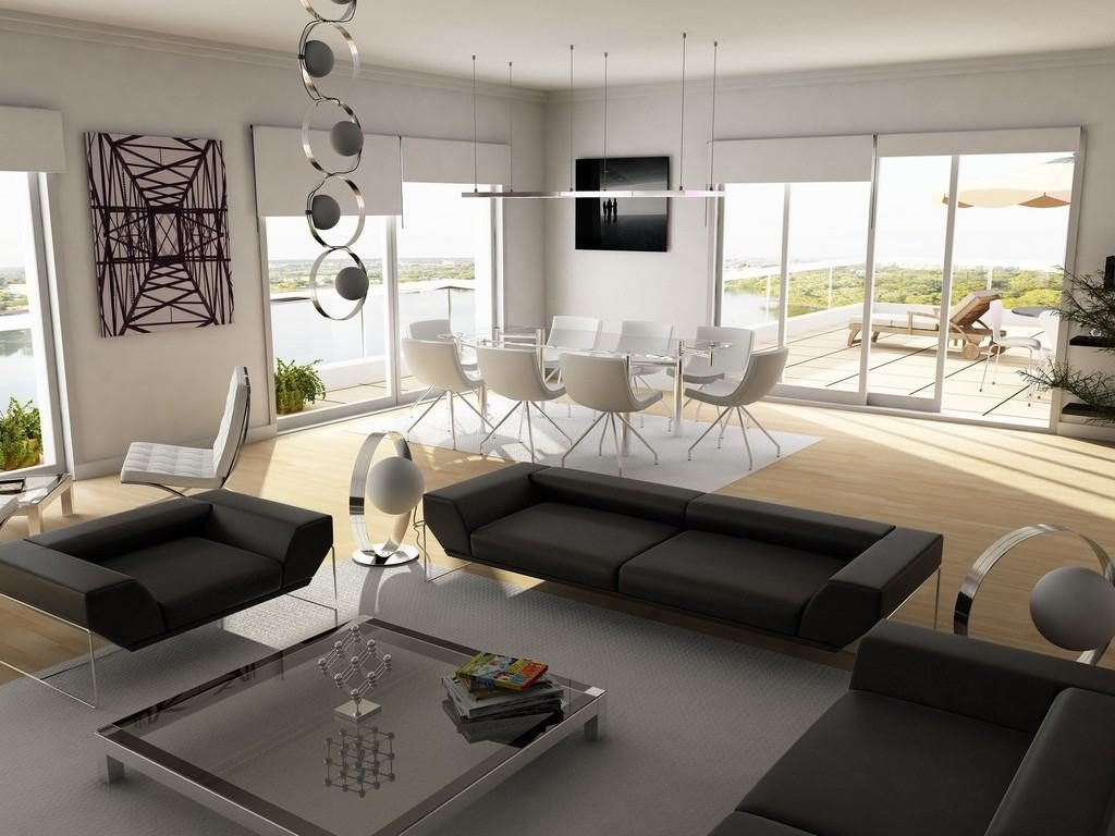 Стильные напольные и подвесные светильники и удобная дизайнерская мебель создадут уникальный и неповторимый интерьер гостиной