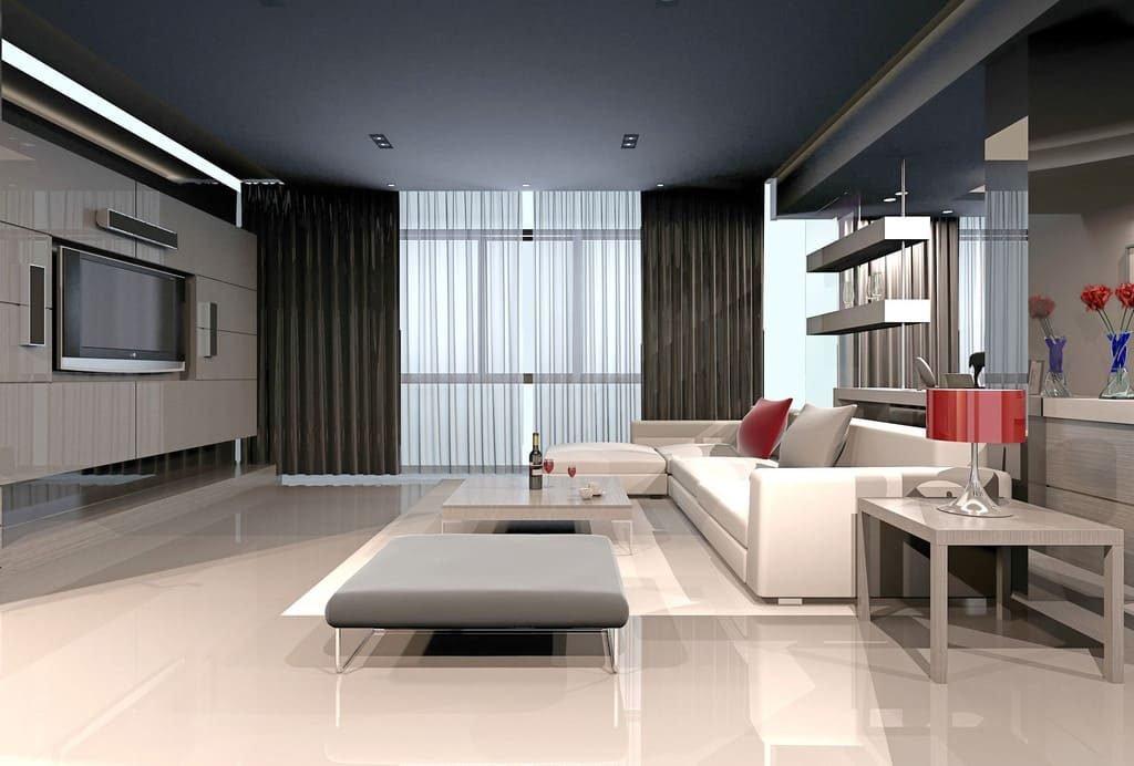 Трудно себе представить интерьер гостиной в стиле хай-тек без хорошей мультимедийной системы