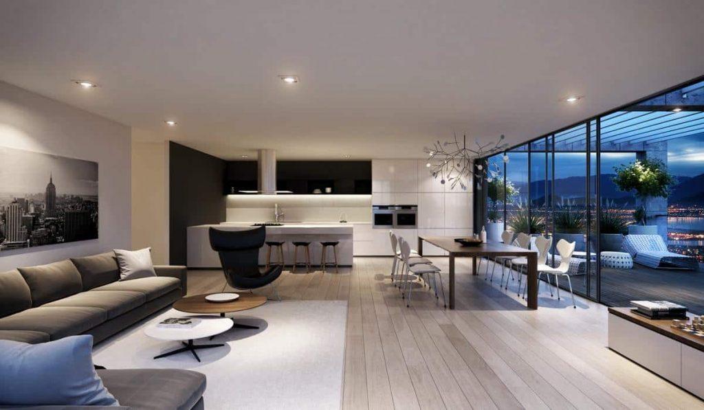 Объединив гостиную и столовую в одно общее пространство можно максимально расширить гостевую зону