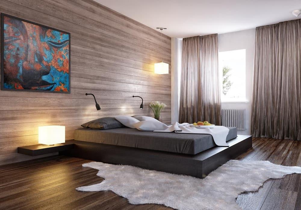 Ламинат на стене в спальне позволит чувствовать себя комфортно и уютно