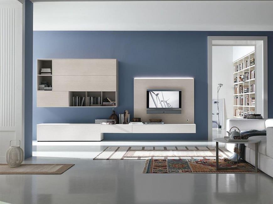 Великолепное сочетание синего и бежевого цвета в интерьере стиля хай-тек