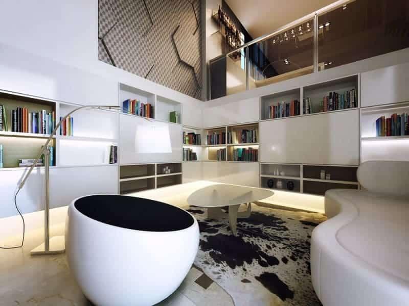 Плавные лини дизайнерской мебели подчеркивают особый характер стиля хай тек