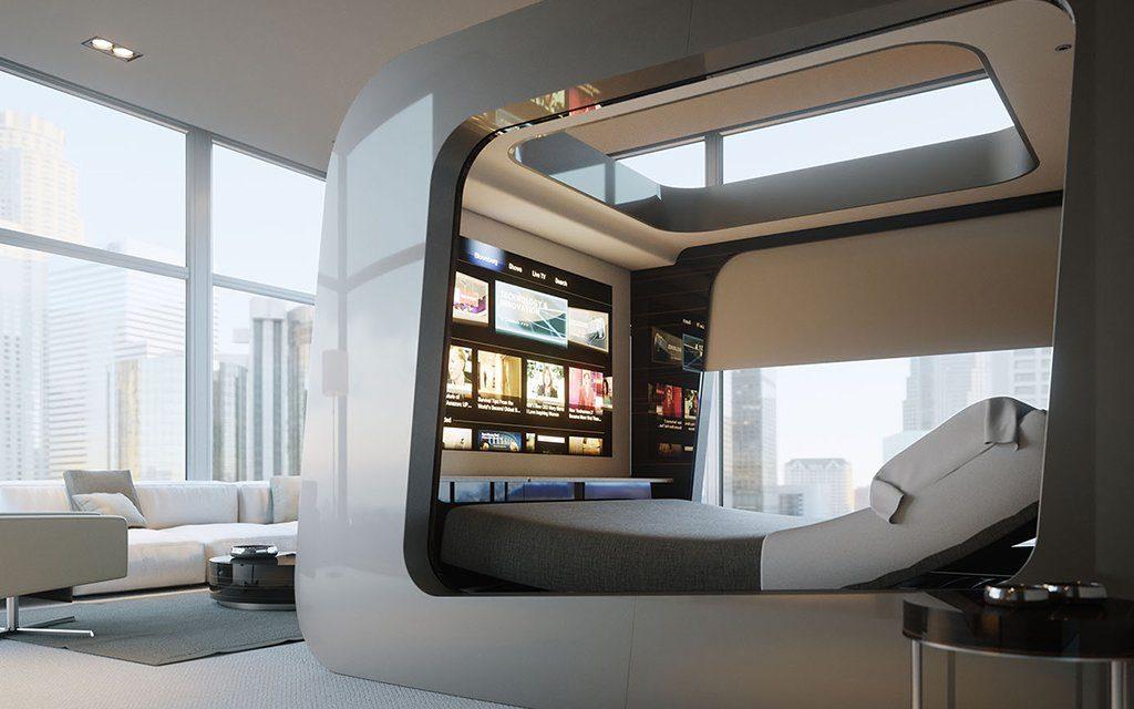 Дизайнерская кровать в футуристичном стиле великолепно вписывается в данный интерьер