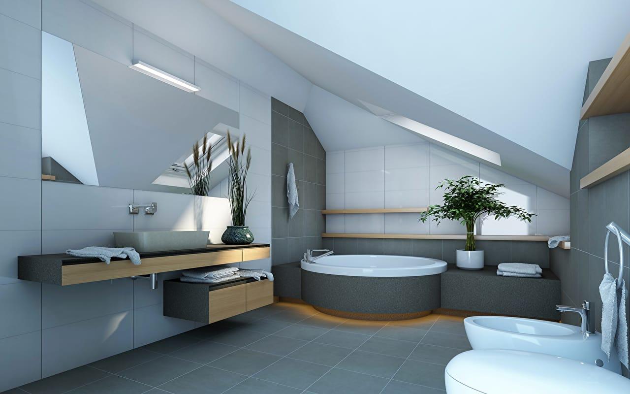Большие зеркала, стильные и едва заметные светильники, а также хромированные аксессуары сантехники станут отличным решением при оформлении ванной в стиле хай-тек