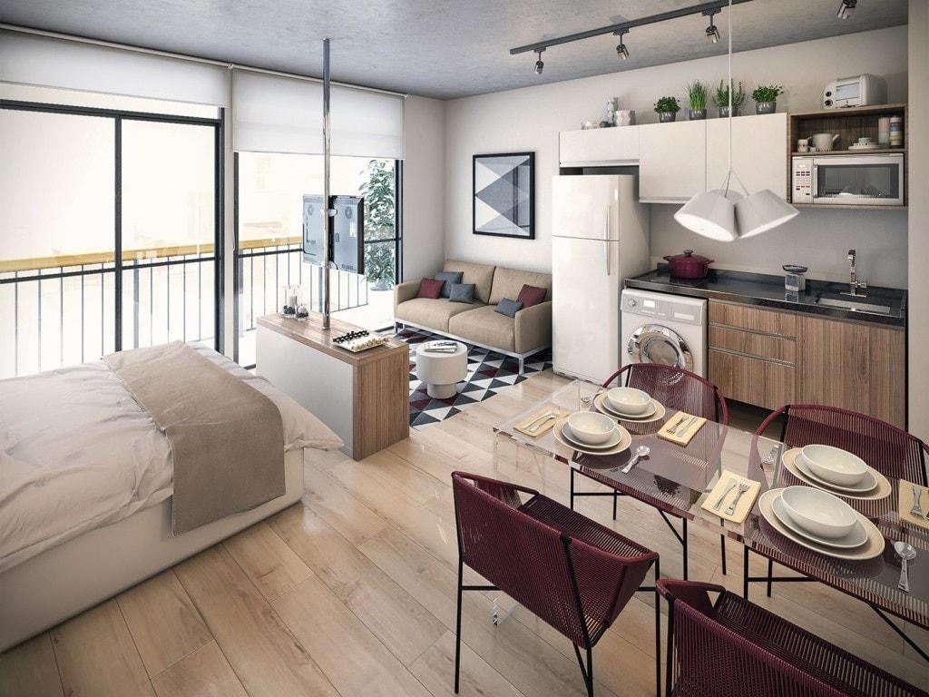 Красивый дизайн квартиры студии в постельных тонах