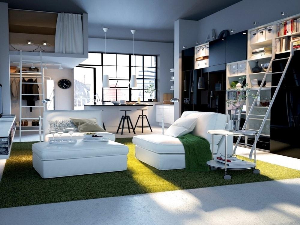 Идеальное сочетание белого и зеленого цвета в оформлении интерьера студийных апартаментов