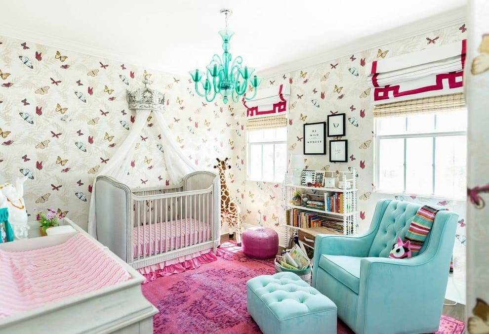Данное фото подробно показывает какие цвета лучше всего использовать при оформлении интерьера детской комнаты для девочки