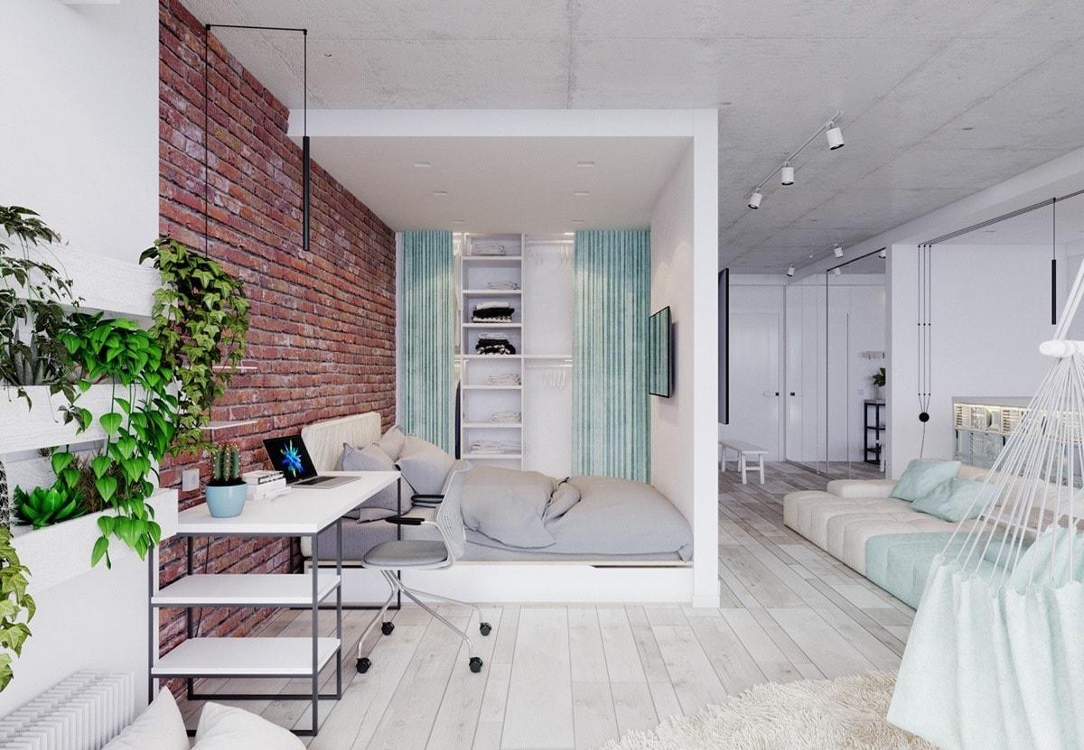 Кирпич в интерьере делает образ квартиры более презентабельным, дорогим и стильным
