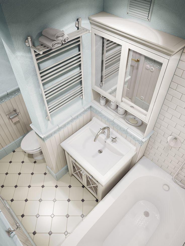 Молочный цвет керамической плитки и нежные оттенки бирюзы помогут создать идеальную атмосферу в вашей ванной комнате в стиле прованс