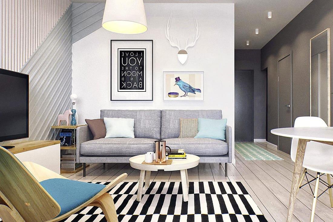 Стильная дизайнерская мебель является главным атрибутом дизайна интерьера современной квартиры студии