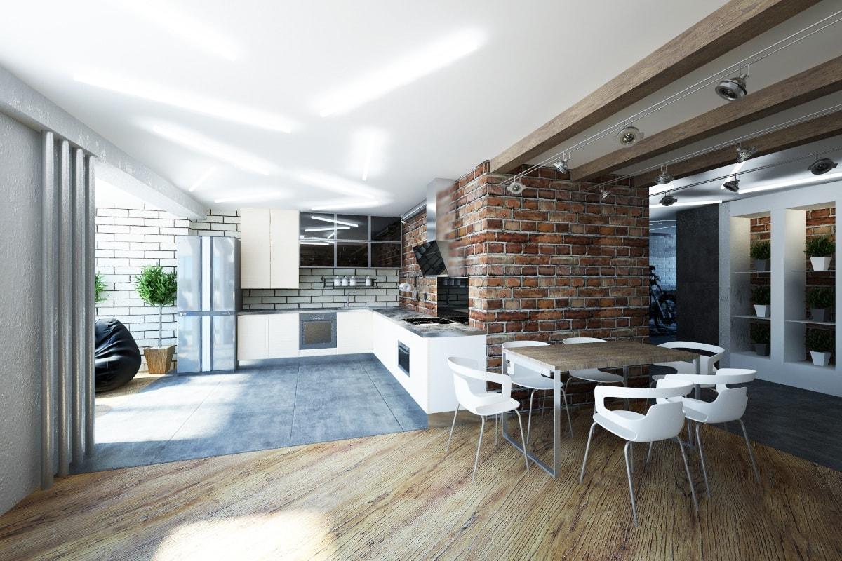 Классический вариант оформления квартиры студии в стиле лофт