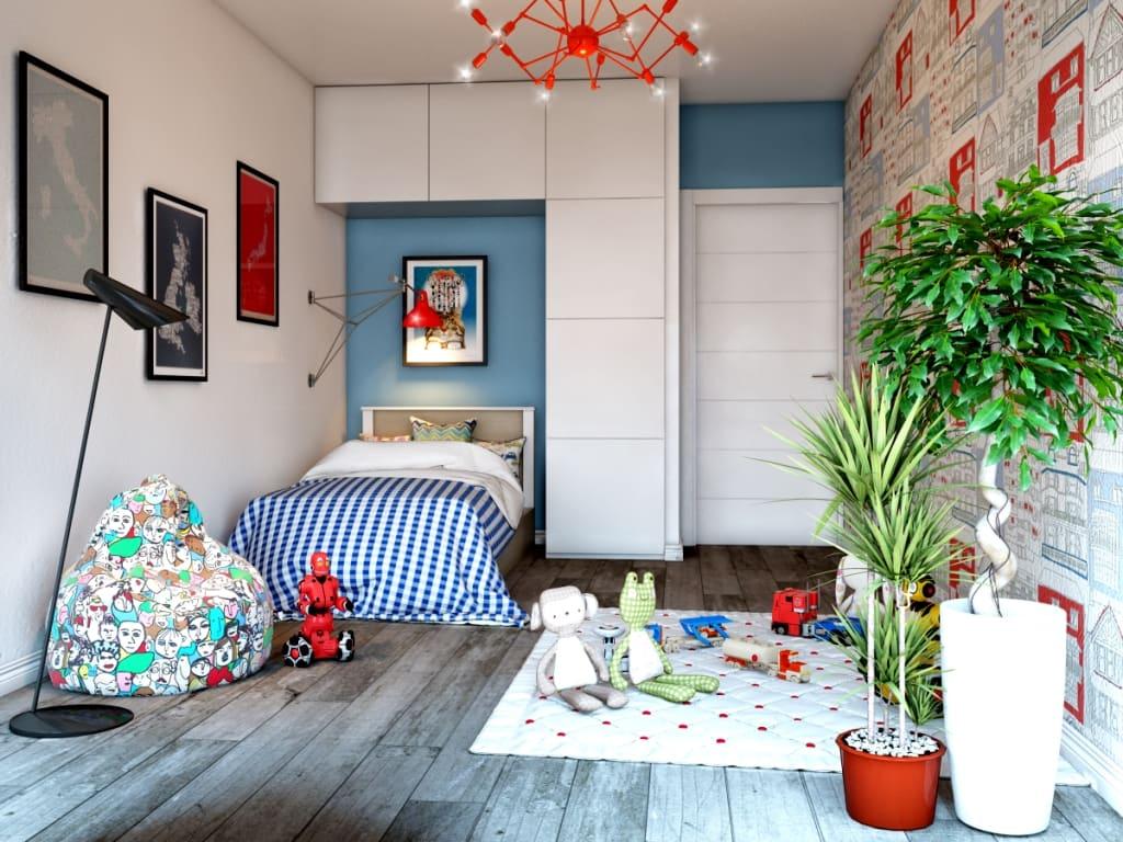 Сочетание ярких и светлых оттенков, делает комнату просторной и веселой, а присутствие в ней живых растений добавит еще больше свежести