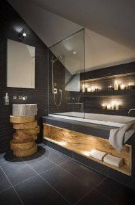 Стильная ванна в темных тонах
