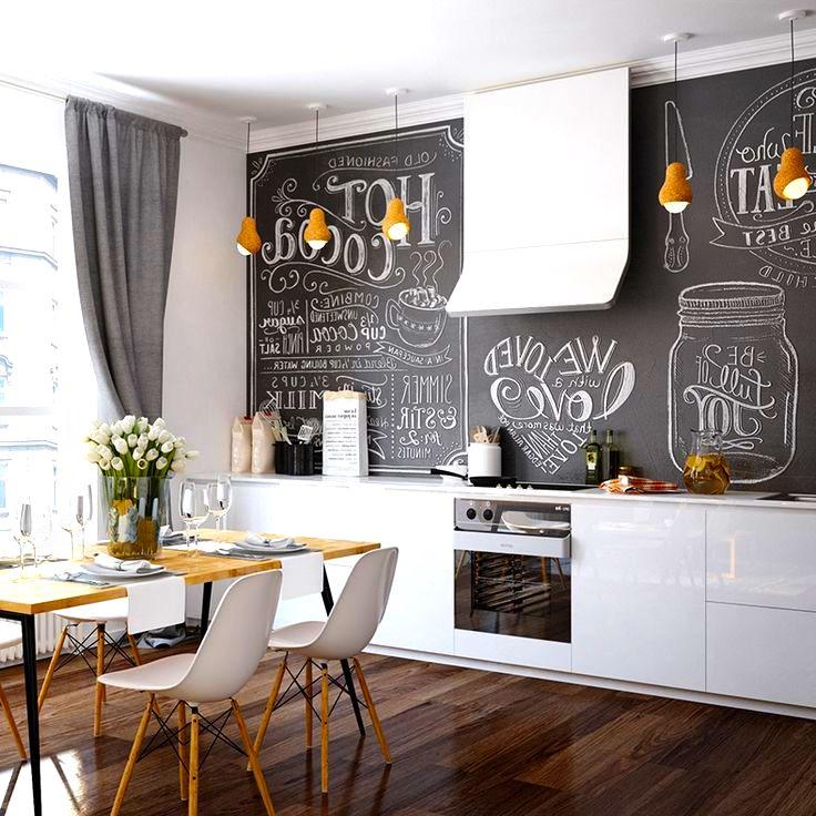 Оригинальным решением для современной кухни, будет фартук в виде грифельной доски для рисования. На ней вы сможете не только поупражняться в художественном мастерстве, но и записать свой любимый рецепт