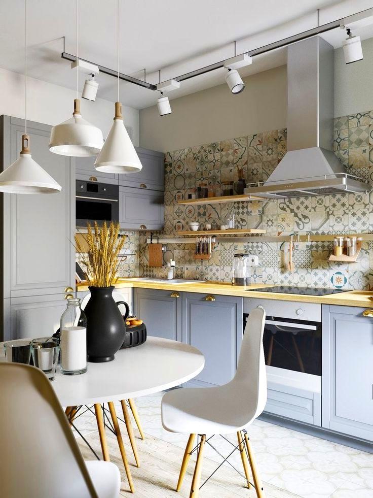Керамический кухонный фартук с ассиметричным рисунком - беспроигрышный вариант создания оригинального дизайна