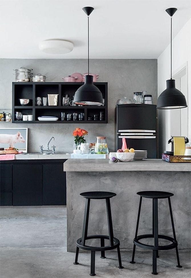 Искусственный камень серого цвета олицетворяет истинный дизайн кухни с мужским характером
