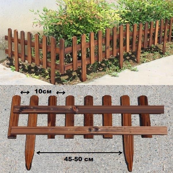 Несмотря на то, что деревянное ограждение для клумбы периодически придется обновлять, выглядеть будет такой заборчик очень здорово