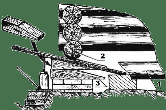 Подъем угла деревянного дома с фундамента