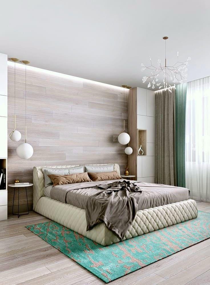 Ламинат на стене поможет сделать интерьер спальни более стильным и уютным